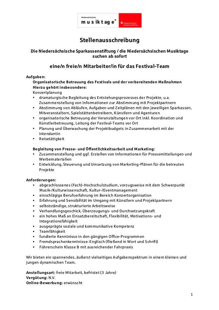 Stellenausschreibung  Die Niedersächsische Sparkassenstiftung / die Niedersächsischen Musiktage                           ...