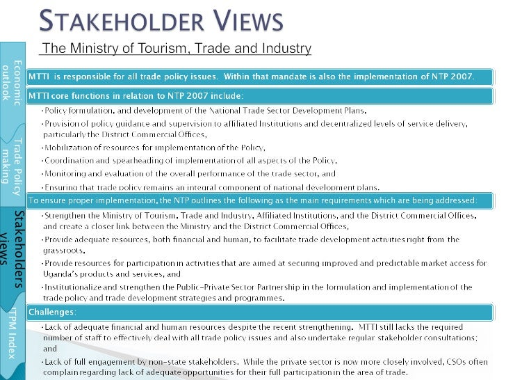Trade Policy making ITPM Index Stakeholders views Economic outlook