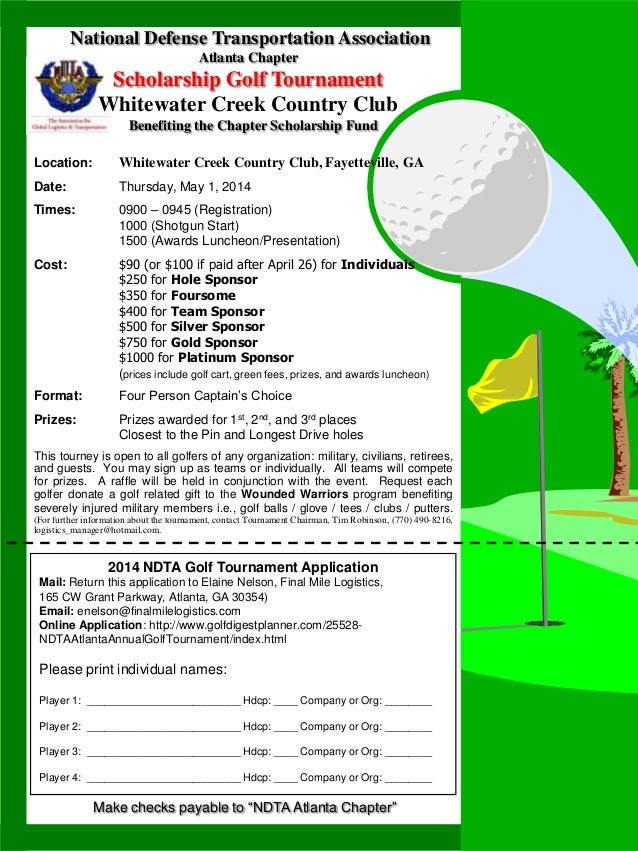 Ndta Golf Tournament Flyer May 2014