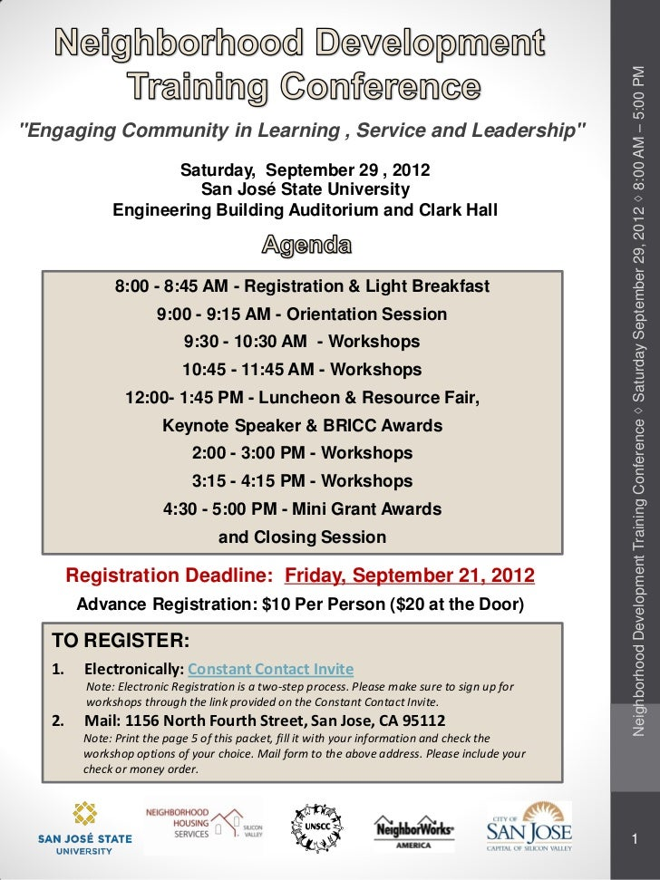 "Neighborhood Development Training Conference ◊ Saturday September 29, 2012 ◊ 8:00 AM – 5:00 PM""Engaging Community in Learn..."