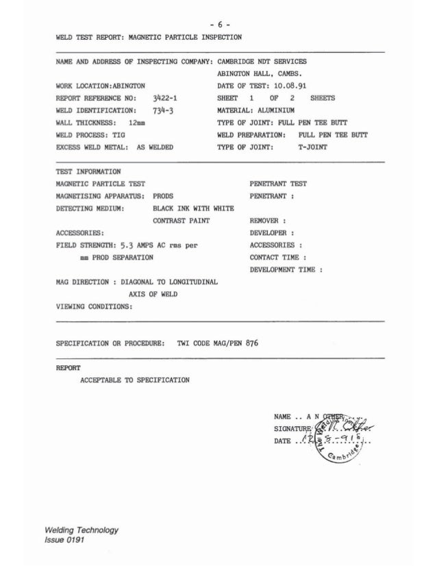 Ndt report sample and answer cswip 32 report no significant defects welding technology issue 0191 6 maxwellsz
