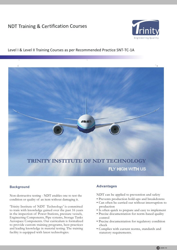 trinity ndt india training courses institute brochure