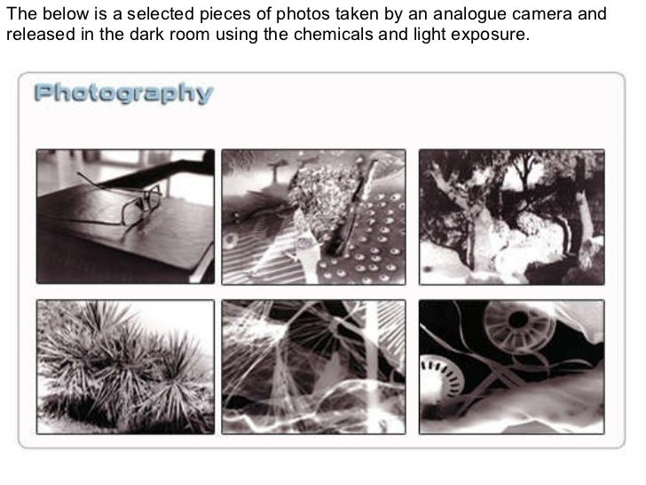 The below is a selected pieces of photos taken by an analogue camera and released in the dark room using the chemicals and...