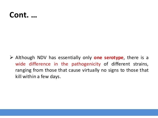 Cont. …  Although NDV has essentially only one serotype, there is a wide difference in the pathogenicity of different str...