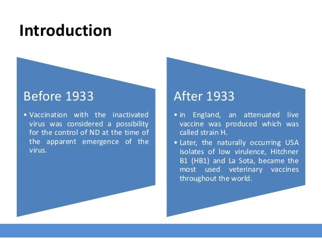 Introduction Before 1933 • Vaccination with the inactivated virus was considered a possibility for the control of ND at th...
