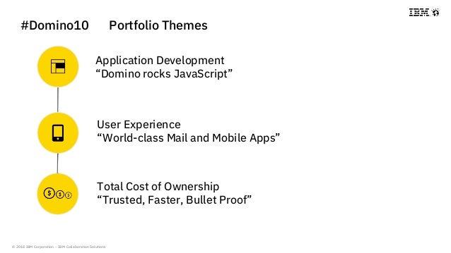 "© 2018 IBM Corporation - IBM Collaboration Solutions #Domino10 Portfolio Themes Application Development ""Domino rocks Java..."