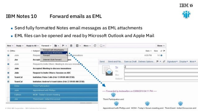 © 2018 IBM Corporation - IBM Collaboration Solutions IBM Notes 10 Forward emails as EML  Send fully formatted Notes email...