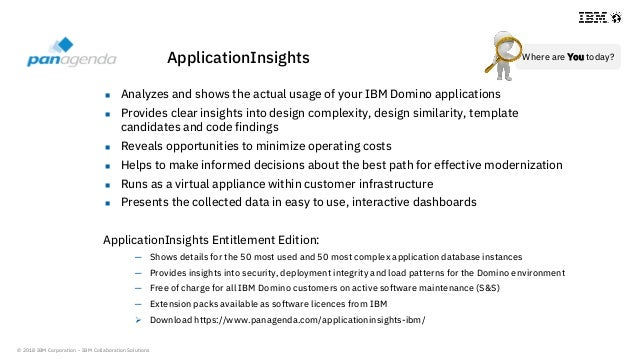 © 2018 IBM Corporation - IBM Collaboration Solutions  Analyzes and shows the actual usage of your IBM Domino applications...