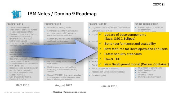 © 2018 IBM Corporation - IBM Collaboration Solutions IBM Notes / Domino 9 Roadmap Feature Pack 8  Java 8 runtime upgrade ...