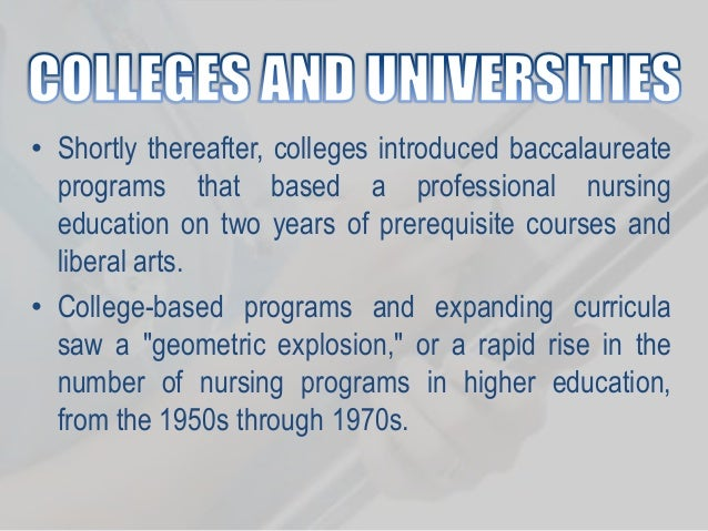 evolution of nursing curriculum History of nursing education evolution  nursing education her evolutionary steps to address a nursing shortage moved nursing students into a decisive curriculum.