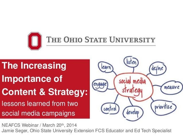 The Increasing Importance of Content & Strategy: lessons learned from two social media campaigns NEAFCS Webinar / March 20...