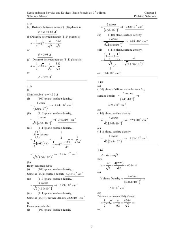 Semiconductor Physics And Devices Solutions Manual
