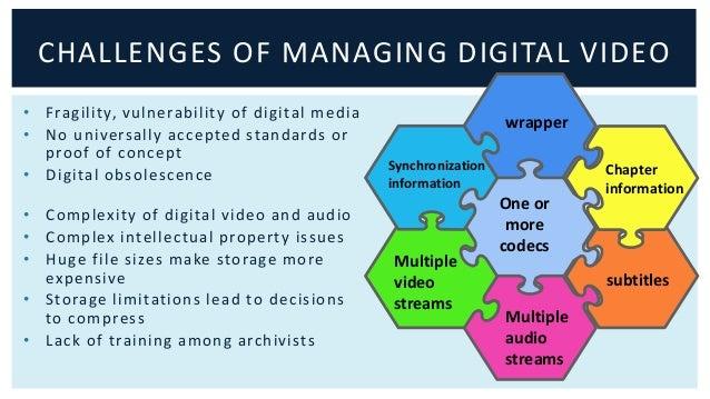 CHALLENGES OF MANAGING DIGITAL VIDEO  • Fragi l ity, vulnerabi li ty of digi tal media  • No universal ly accepted standar...