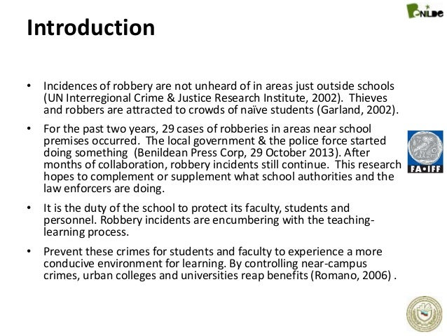 Dissertation on robbery in schools
