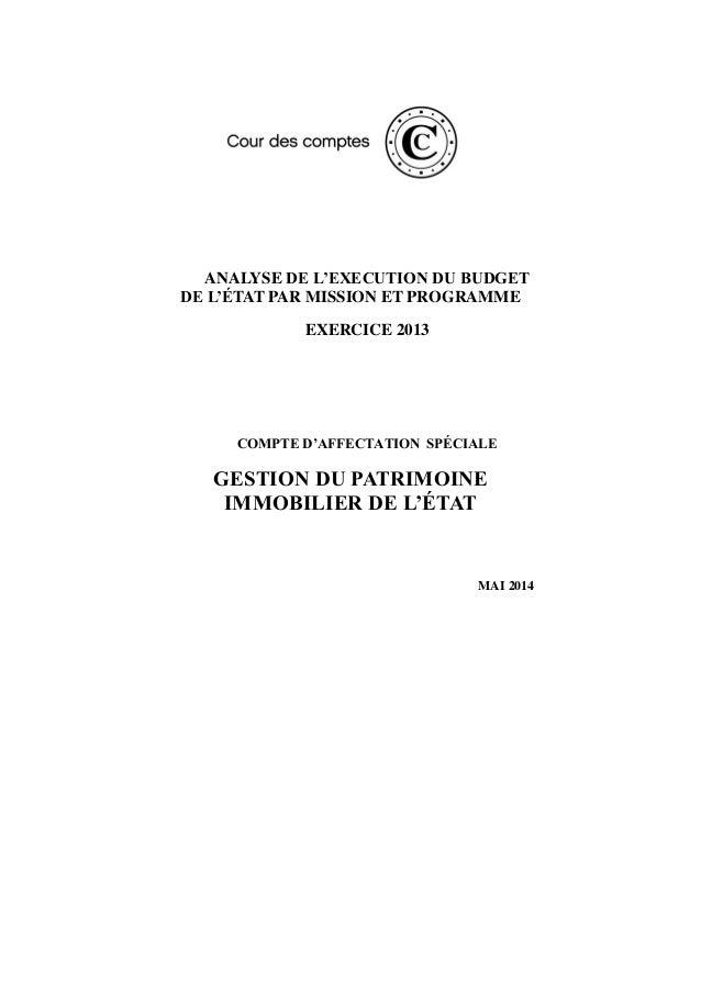 ANALYSE DE L'EXECUTION DU BUDGET DE L'ÉTAT PAR MISSION ET PROGRAMME EXERCICE 2013 COMPTE D'AFFECTATION SPÉCIALE GESTION DU...