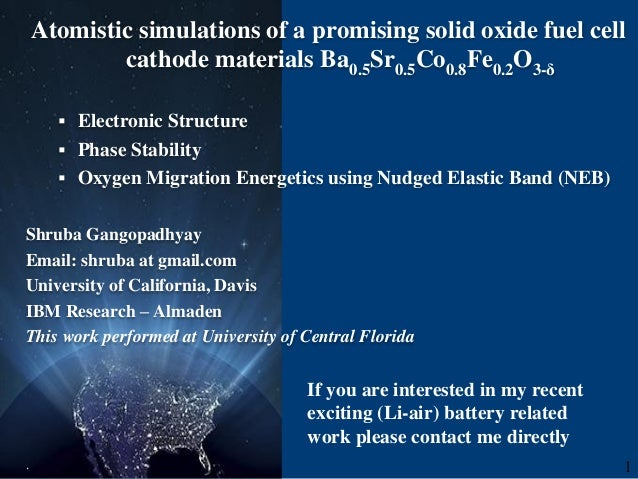 Atomistic simulations of a promising solid oxide fuel cell cathode materials Ba0.5Sr0.5Co0.8Fe0.2O3-δ  Electronic Structu...