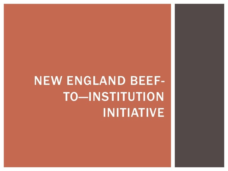 NEW ENGLAND BEEF-   TO—INSTITUTION        INITIATIVE