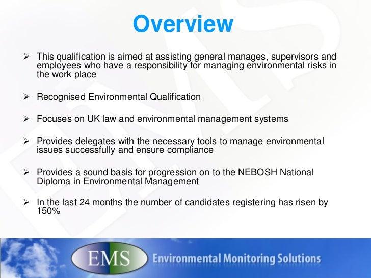 NEBOSH Certificate InEnvironmentalManagement 2