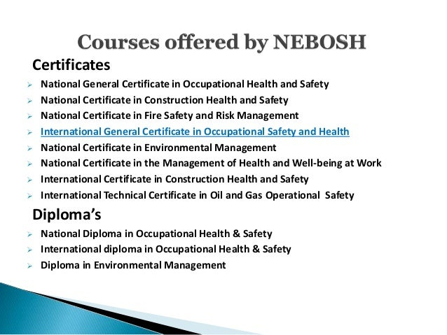 5 Certificates National General Certificate In Occupational Health And Safety