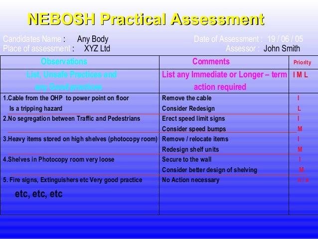 nebosh candidates observation sheet custom paper help