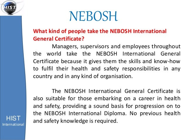 NEBOSH HIST International What Kind Of