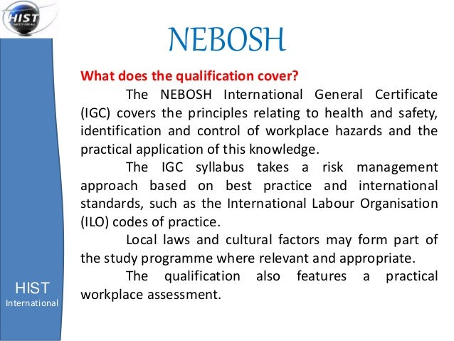 nebosh ngc3 health safety practical Practical: maximum marks, minimum stress what is the nebosh diploma practical 3 detailed review of the health and safety performance of a workplace and produce a justified action plan to improve performance the expected length of the assignment.