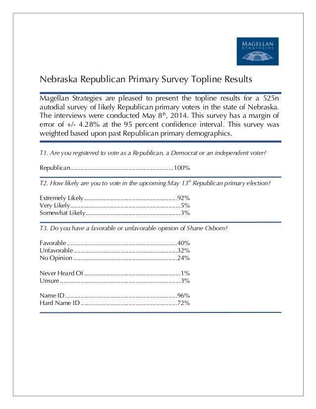 ! ! ! ! ! Nebraska Republican Primary Survey Topline Results Magellan Strategies are pleased to present the topline result...