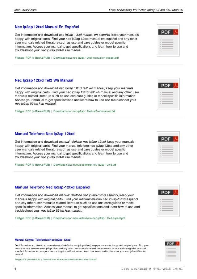 nec ip2ap 924m ksu manual rh slideshare net nec ip2ap-924m ksu manual pdf nec ip2ap-924m ksu programming