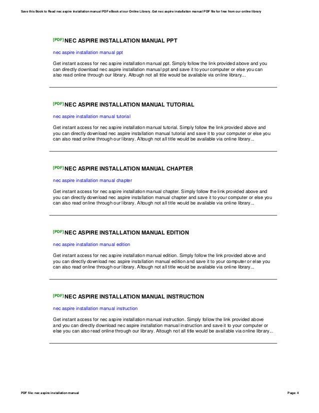 nec aspire installation manual rh slideshare net nec aspire phone user manual nec aspire user manual