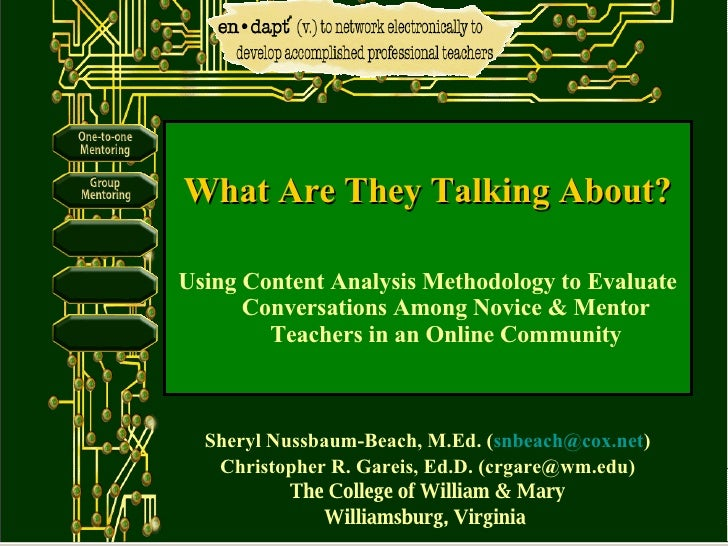 Sheryl Nussbaum-Beach, M.Ed. ( [email_address] ) Christopher R. Gareis, Ed.D. (crgare@wm.edu) The College of William & Mar...