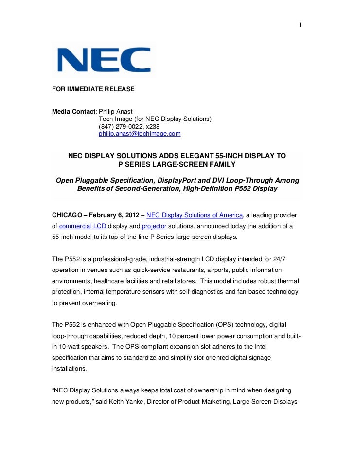1FOR IMMEDIATE RELEASEMedia Contact: Philip Anast               Tech Image (for NEC Display Solutions)               (847)...