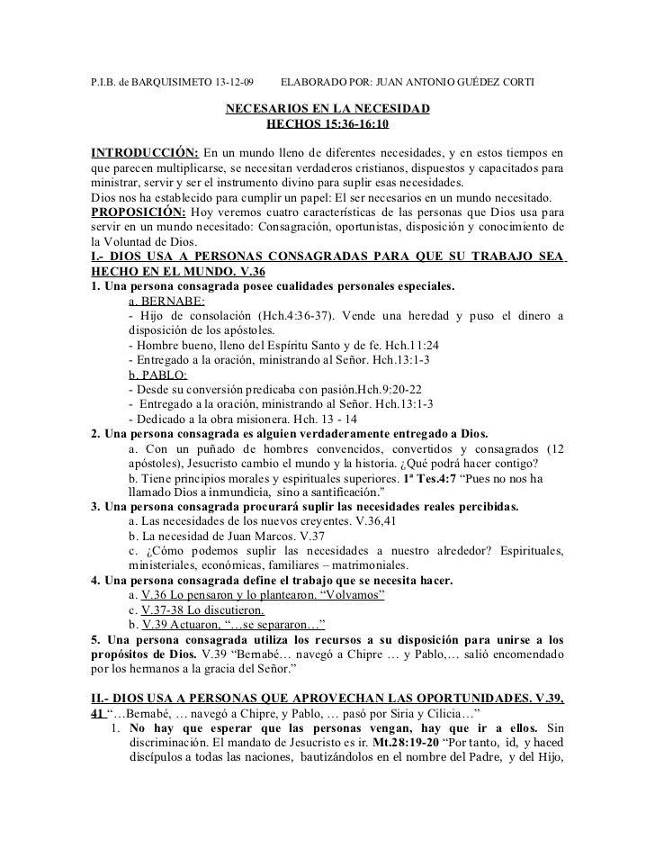 P.I.B. de BARQUISIMETO 13-12-09     ELABORADO POR: JUAN ANTONIO GUÉDEZ CORTI                          NECESARIOS EN LA NEC...