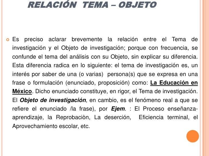 RELACIÓN  TEMA – OBJETO<br />Es preciso aclarar brevemente la relación entre el Tema de investigación y el Objeto de inves...