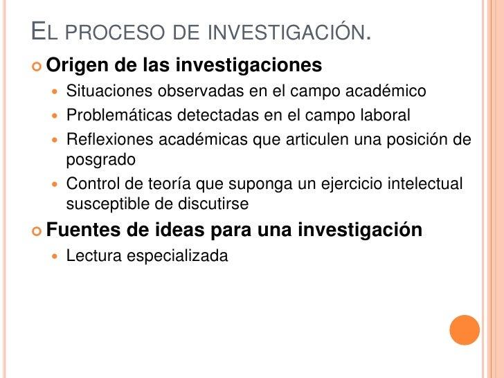 El proceso de investigación.<br />Origen de las investigaciones<br />Situaciones observadas en el campo académico<br />Pro...