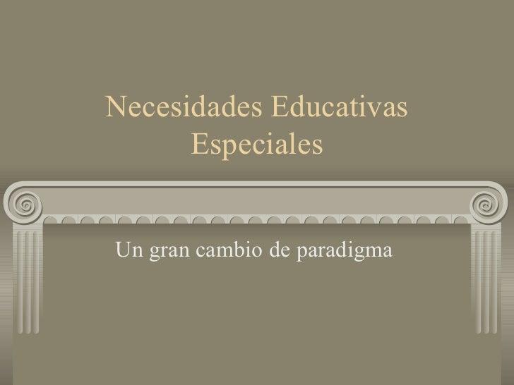 Necesidades Educativas Especiales Un gran cambio de paradigma