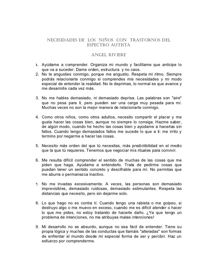 NECESIDADES DE LOS NIÑOS CON TRASTORNOS DEL                      ESPECTRO AUTISTA                             ANGEL RIVIER...