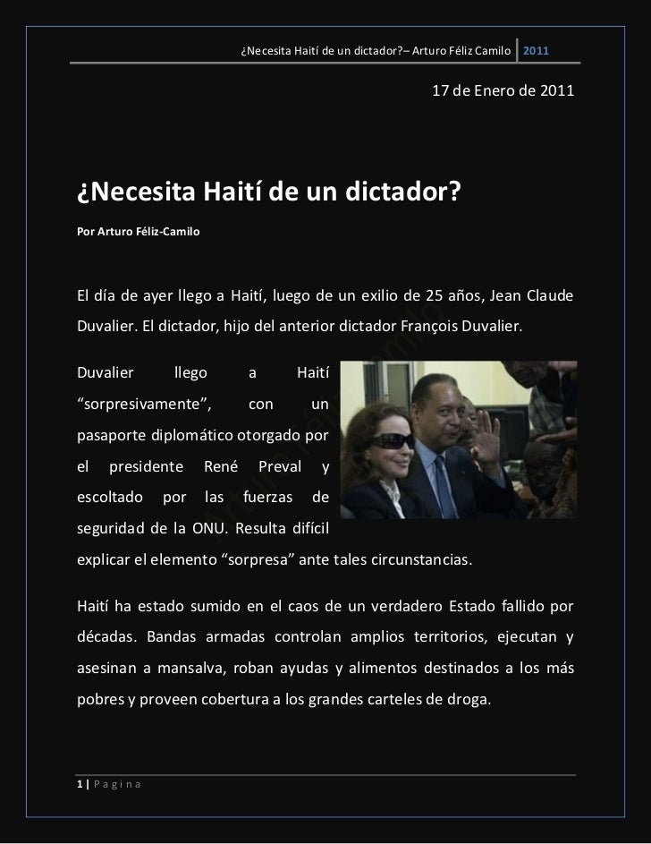 ¿Necesita Haití de un dictador?– Arturo Féliz Camilo 2011                                                                 ...