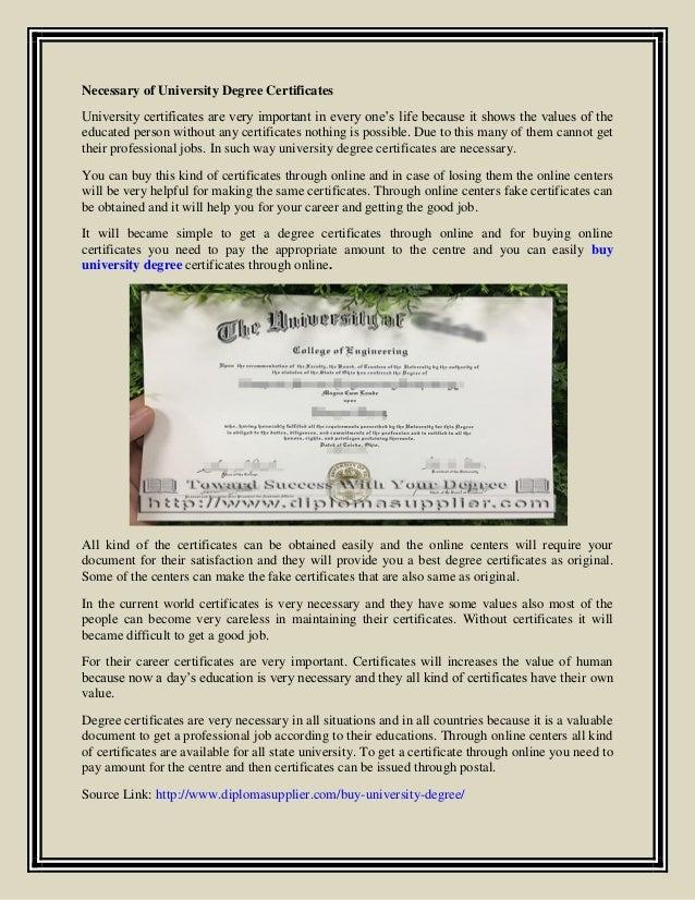 Necessary Of University Degree Certificates
