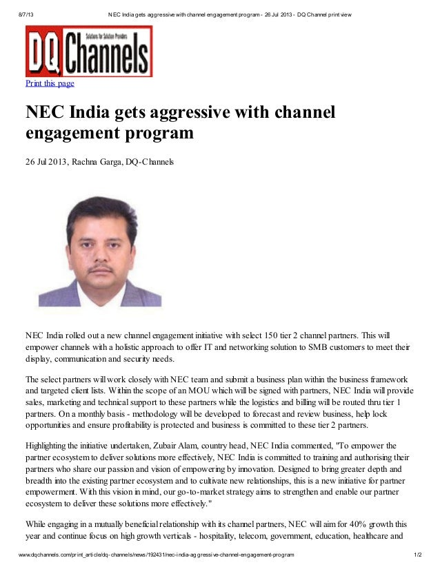 8/7/13 NEC India gets aggressive with channel engagement program - 26 Jul 2013 - DQ Channel print view www.dqchannels.com/...