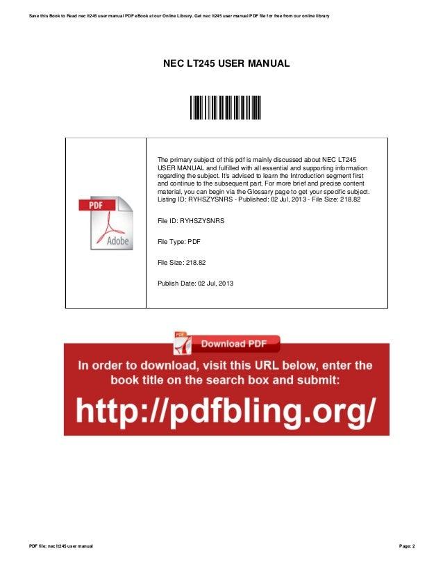 nec lt245 user manual rh slideshare net NEC Office Phone Manual NEC Office Phone Manual