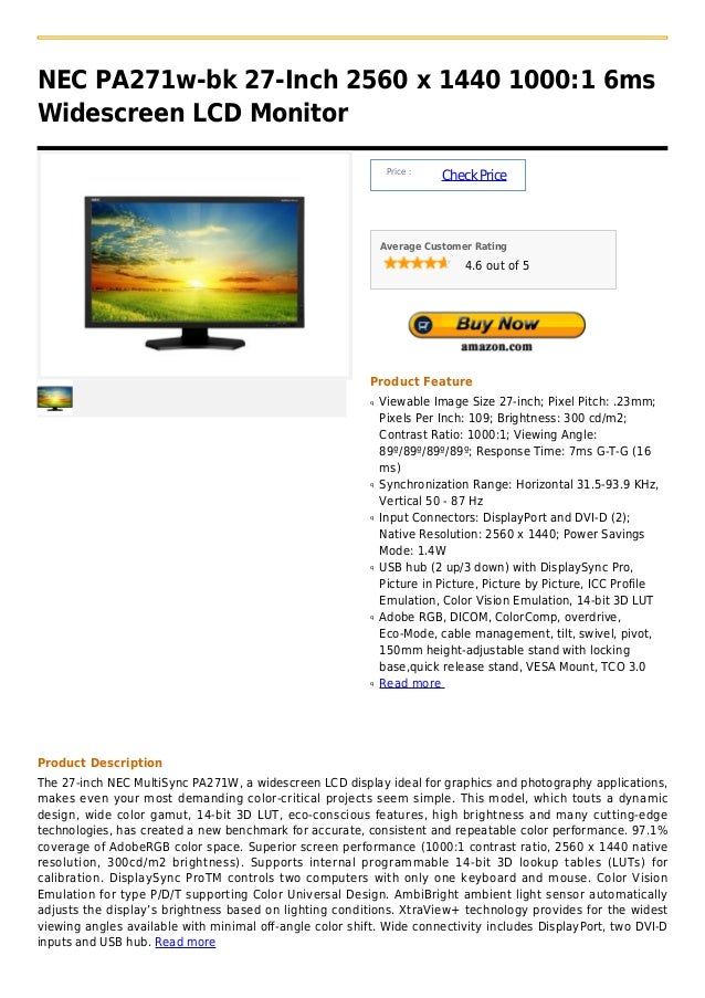 NEC PA271w-bk 27-Inch 2560 x 1440 1000:1 6msWidescreen LCD Monitor                                                        ...