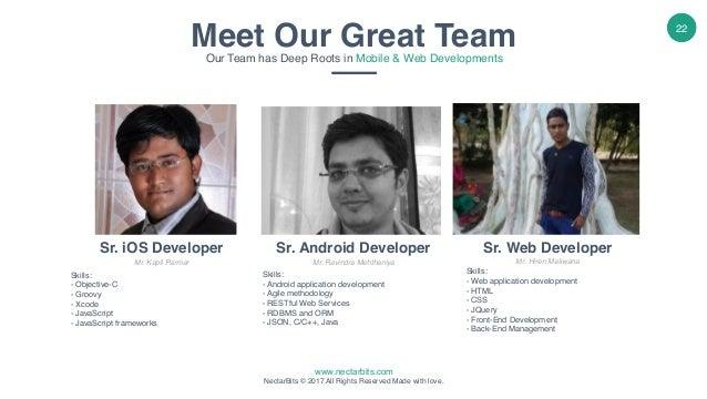 www.nectarbits.com NectarBits © 2017 All Rights Reserved Made with love. 22 Sr. iOS Developer Mr. Kapil Parmar Skills: - ...