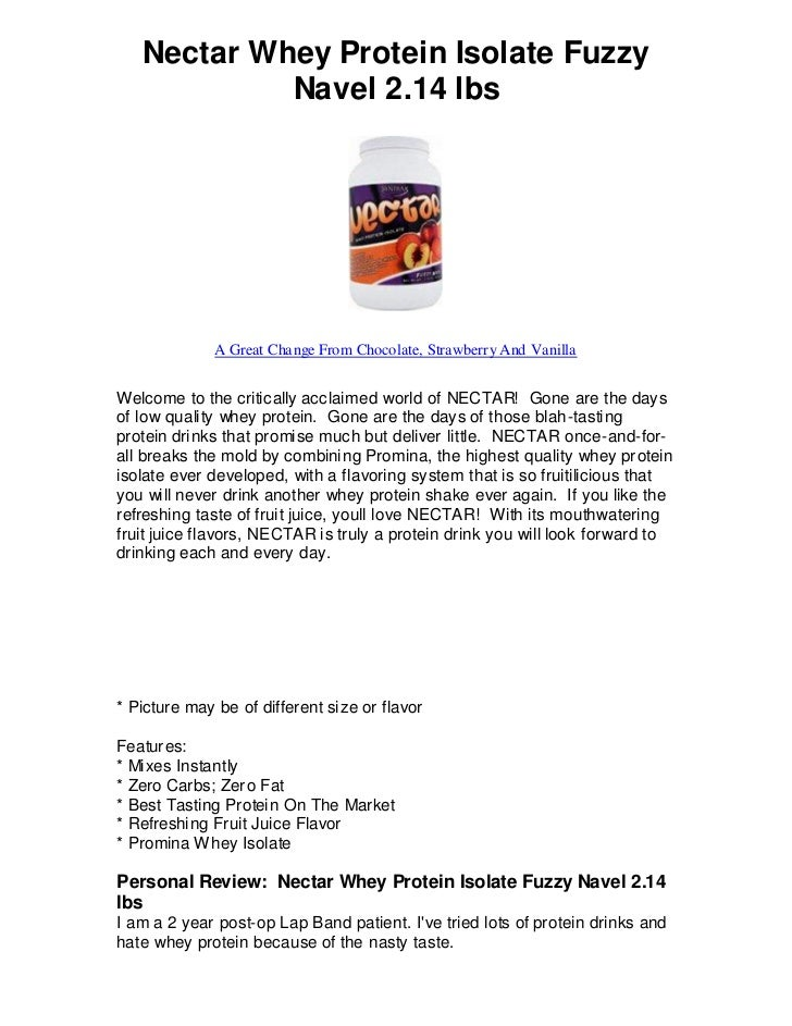 Nectar Whey Protein Isolate Fuzzy            Navel 2.14 lbs              A Great Change From Chocolate, Strawberry And Van...