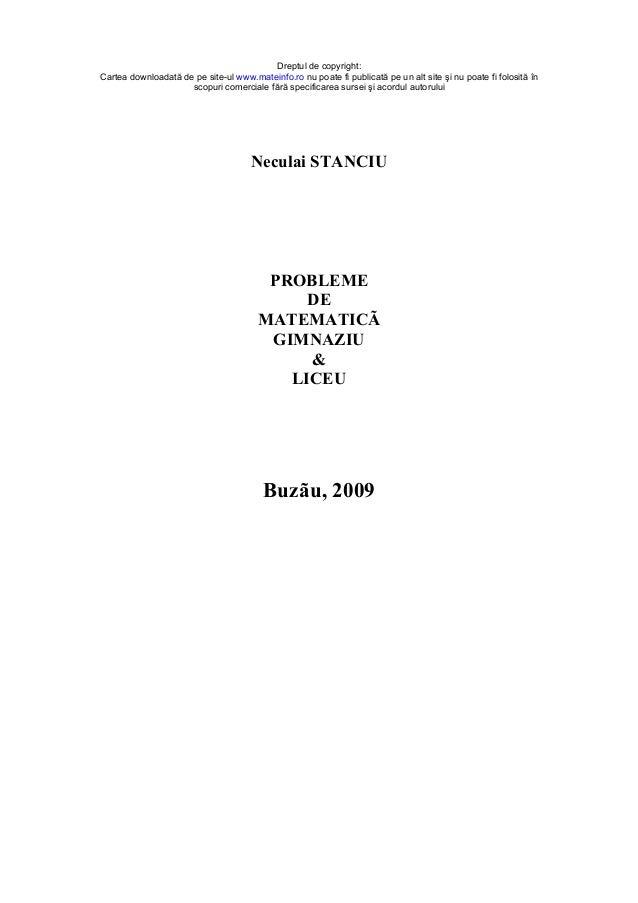 Dreptul de copyright: Cartea downloadată de pe site-ul www.mateinfo.ro nu poate fi publicată pe un alt site şi nu poate fi...