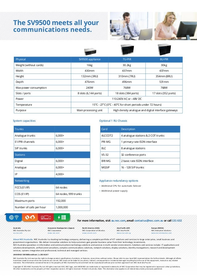 Nec univerge sv9500 communication for government and enterprise busin…