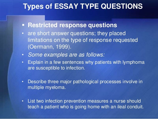 essay type exam questions