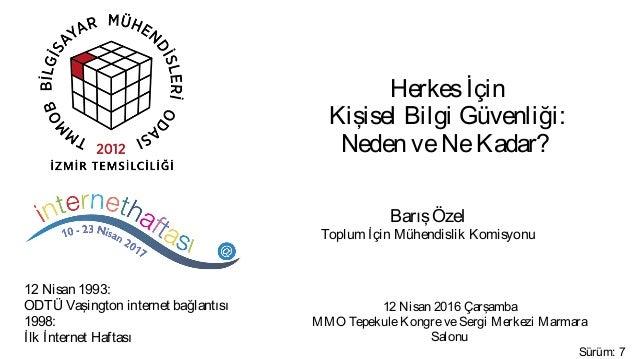 Herkesİçin Kişisel Bilgi Güvenliği: Neden veNeKadar? 12 Nisan 2016 Çarşamba MMO TepekuleKongreveSergi Merkezi Marmara Salo...