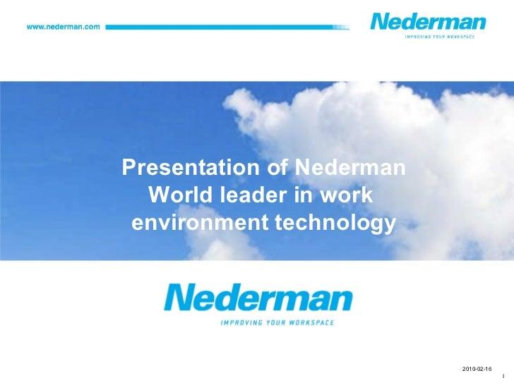 Presentation of Nederman World leader in work  environment technology