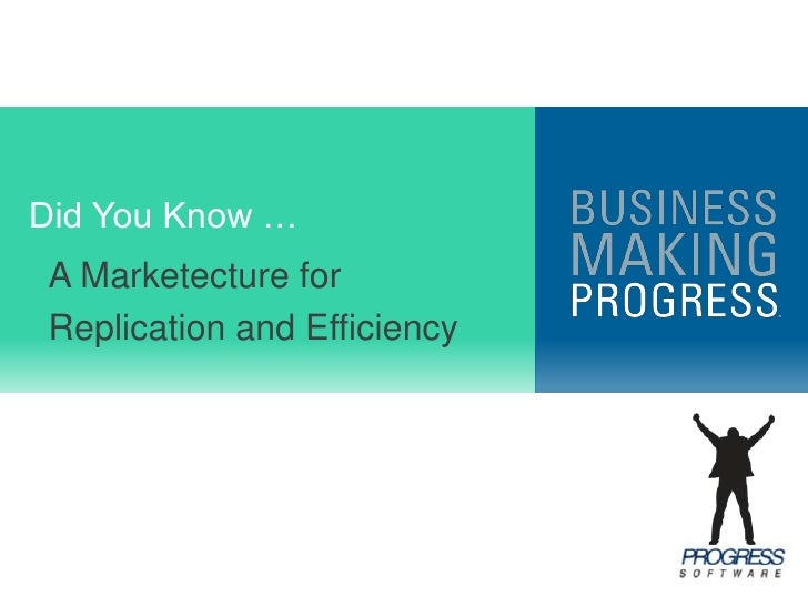 Did You Know …<br />A Marketecture for<br />Replication and Efficiency<br />