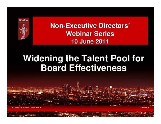 Non-Executive Directors'                               Webinar Series                                 10 June 2011        ...
